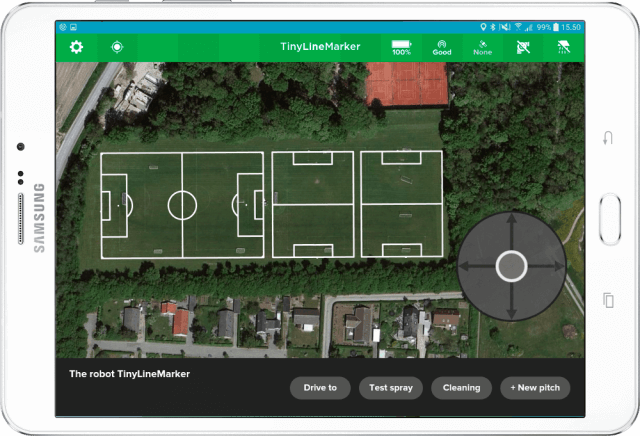 TinyLinemarker tablet showing placement of sports field lines on map