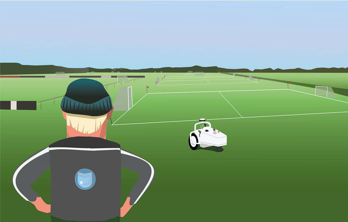 A sports line marking robot can free up time for groundsmen