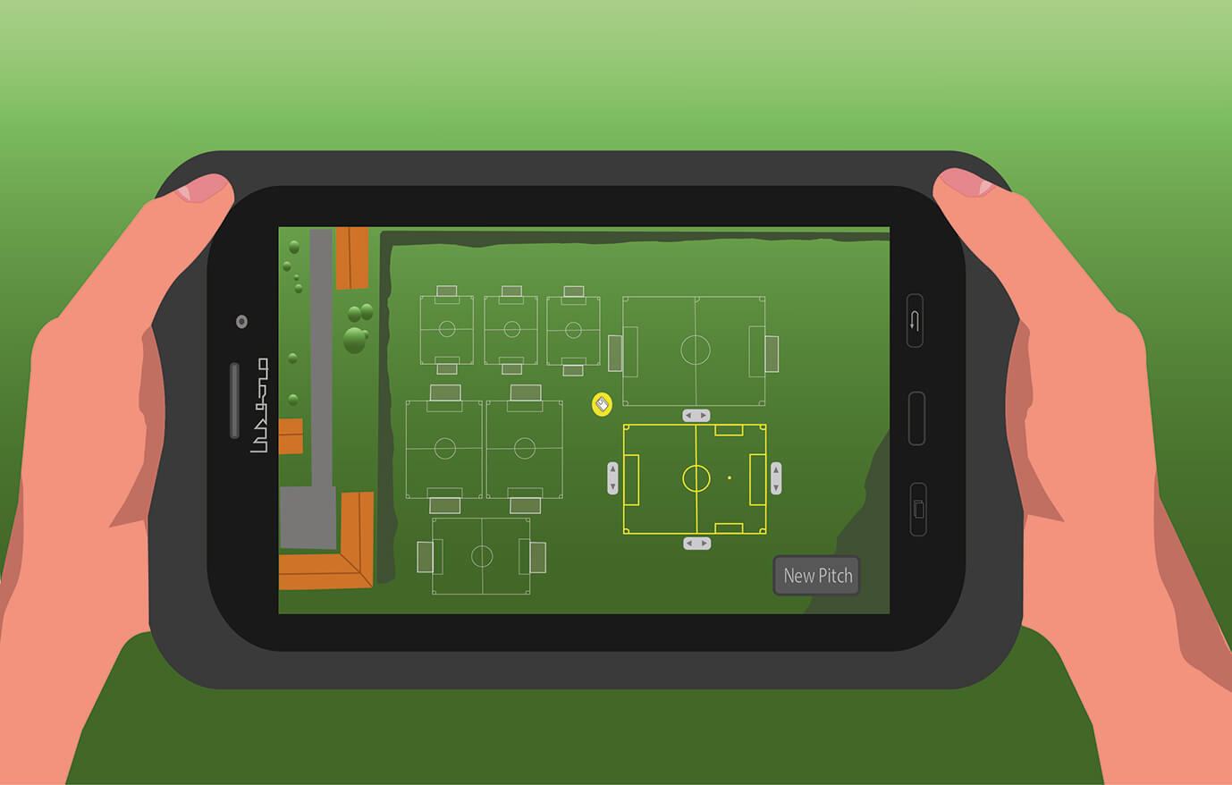 Adjusting sports pitches using the TinyLineMarker tablet